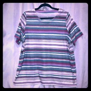 Allison Daley Plus 1X Purple F15 Blue Striped Top